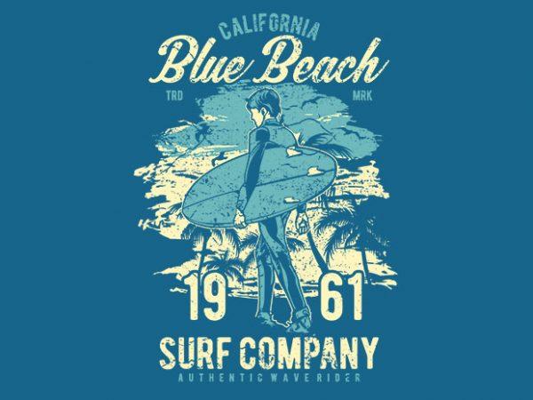 Blue Beach tshirt design for sale