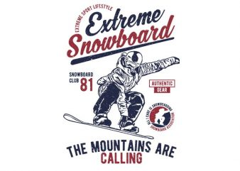 Extreme Snowboard vector t-shirt design for commercial use