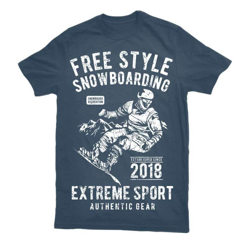 Free Style Snowboarding t shirt designs for print on demand