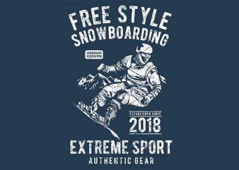 Free Style Snowboarding print ready vector t shirt design