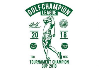 Golf Champion League vector t-shirt design for commercial use