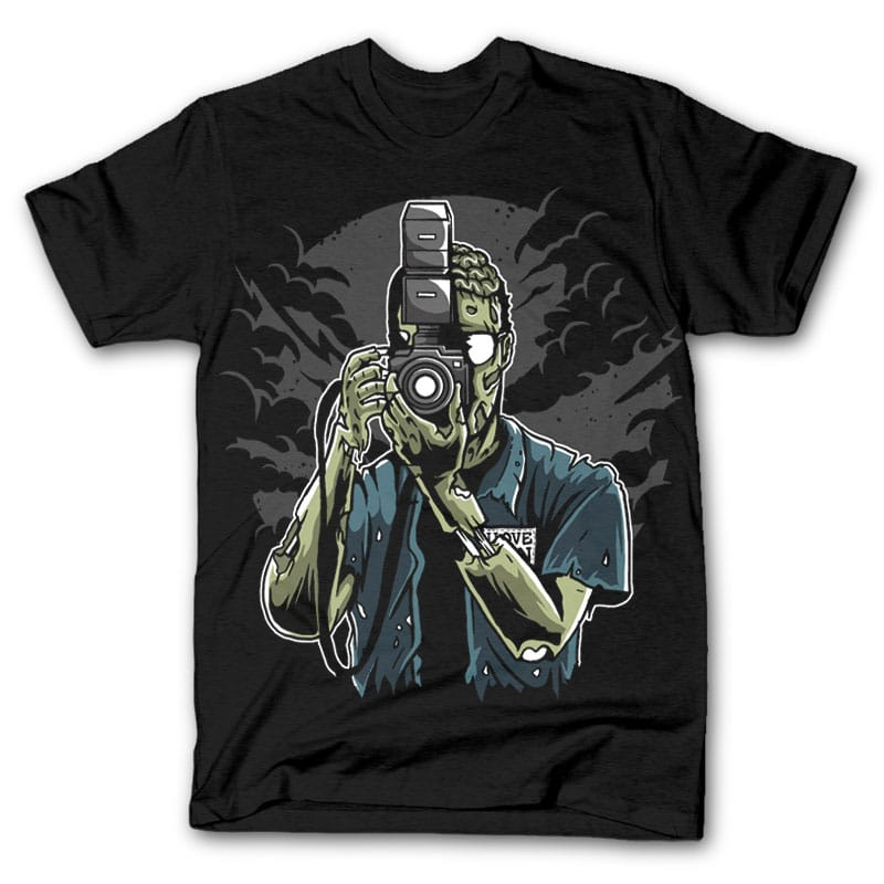 Zombie Photographer t shirt design tshirt designs for merch by amazon