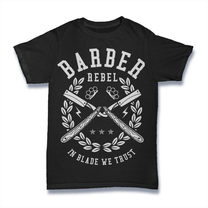 Barber Rebel t-shirt designs for merch by amazon