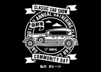 Classic Car Show vector t-shirt design template