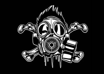 Cross Bones Gasmask vector t shirt design artwork