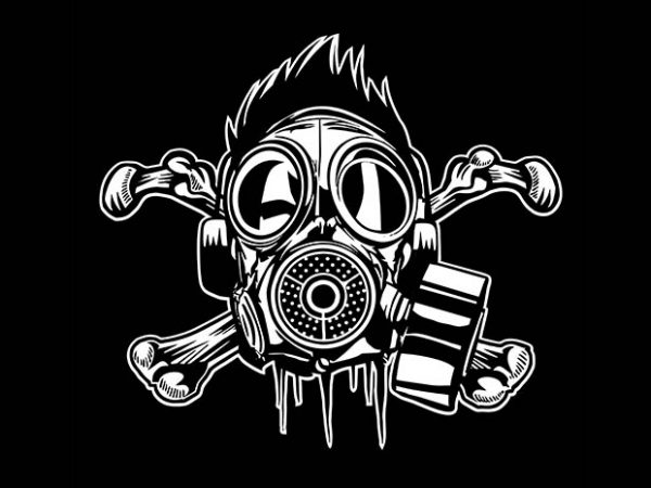 Cross Bones Gasmask vector t shirt design artwork