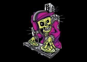 DJ Skull vector t shirt design for download