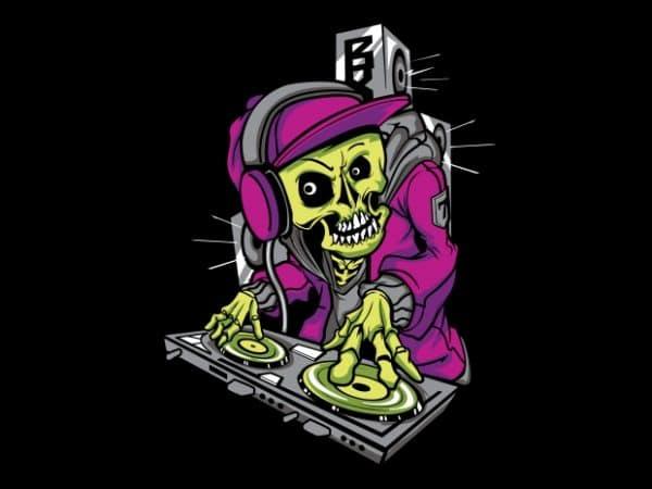 DJ Skull t shirt vector illustration
