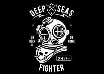 Deep Seas Fighter vector t-shirt design