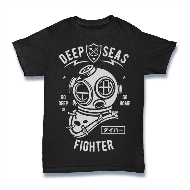 Deep Seas Fighter Mockup - Deep Seas Fighter buy t shirt design