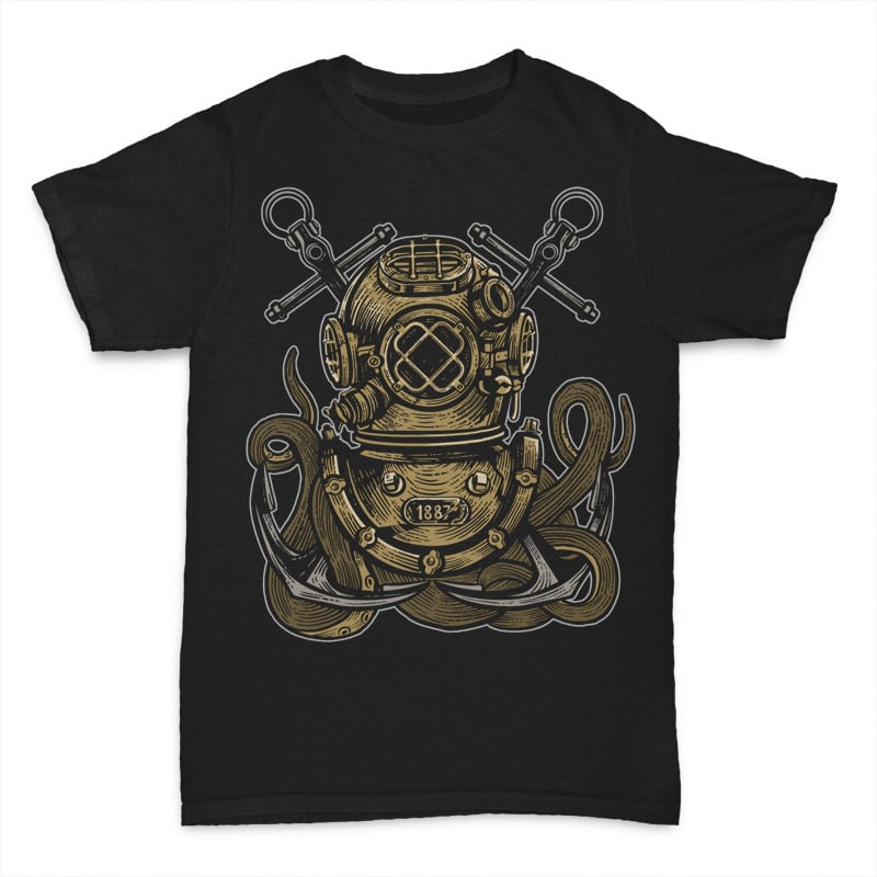 Diver Octopus tshirt design t shirt designs for printful
