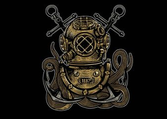 Diver Octopus tshirt design