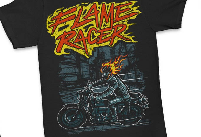 Flame Racer tshirt design - Flame Racer t shirt design buy t shirt design