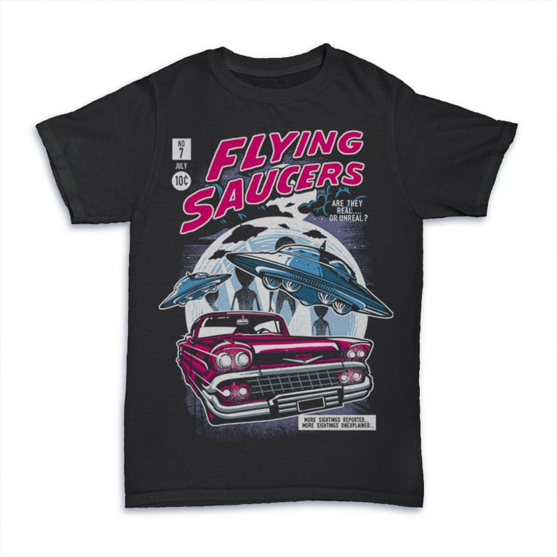 Flying Saucers tshirt design t-shirt designs for merch by amazon