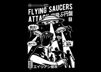 Flying Saucers Attack tshirt design for sale
