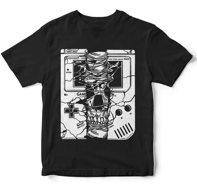 Gameboy Skull t shirt design tshirt designs for merch by amazon