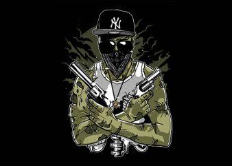 Gangsta Zombie tshirt design