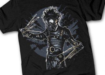 Gas Mask Scissors t shirt design template