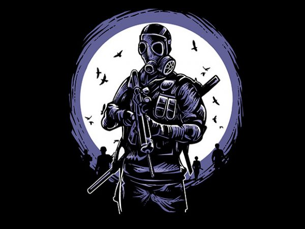 Gas Mask Soldier commercial use t-shirt design
