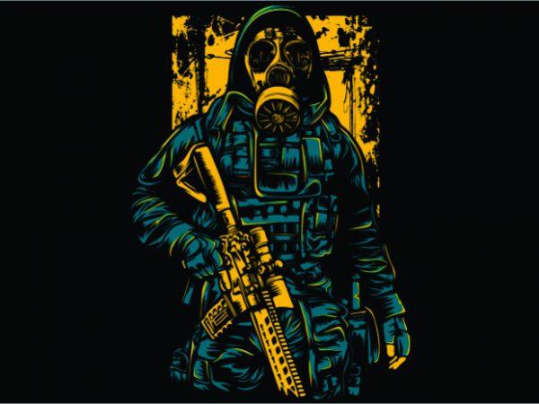 Gas Mask Soldier tshirt design for sale