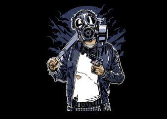 Gasmask Bastard vector t shirt design artwork