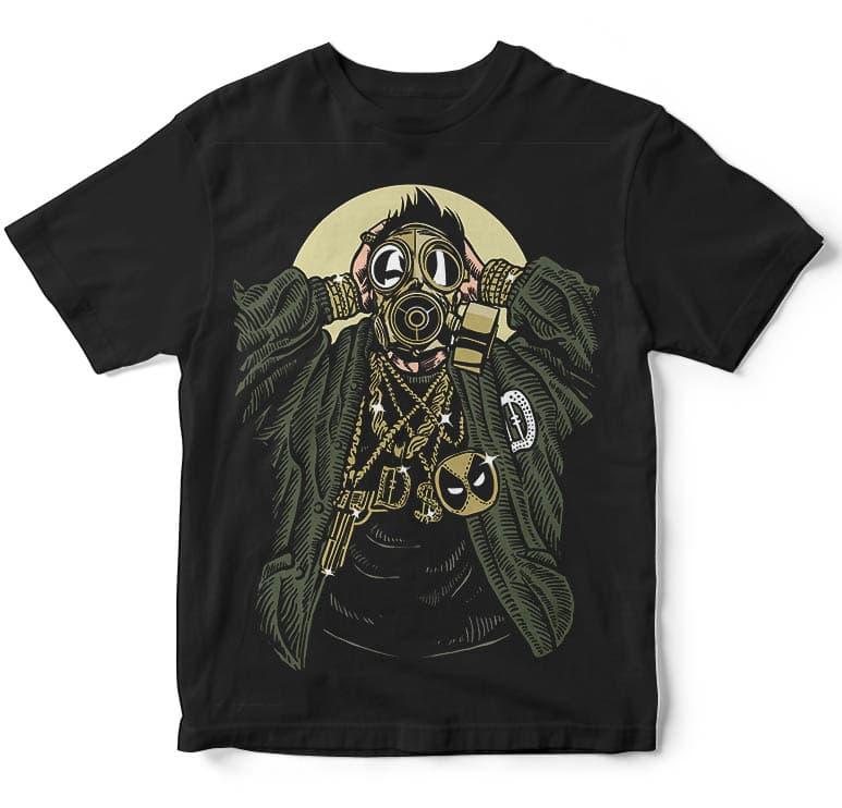 Gasmask Gangsta tshirt design commercial use t shirt designs