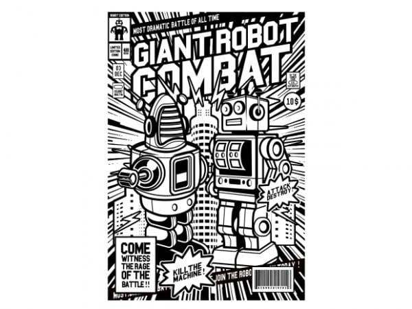 Giant Robot Combat vector t-shirt design for commercial use