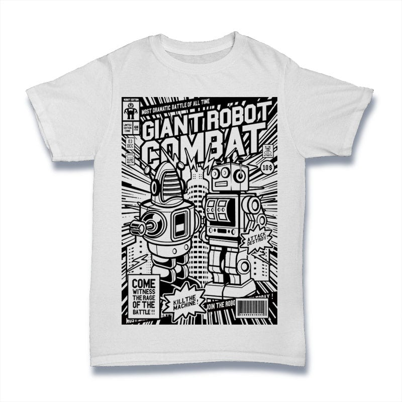 Giant Robot Combat t shirt designs for merch teespring and printful