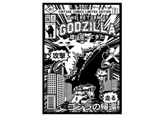 Godzilla vector t shirt design artwork