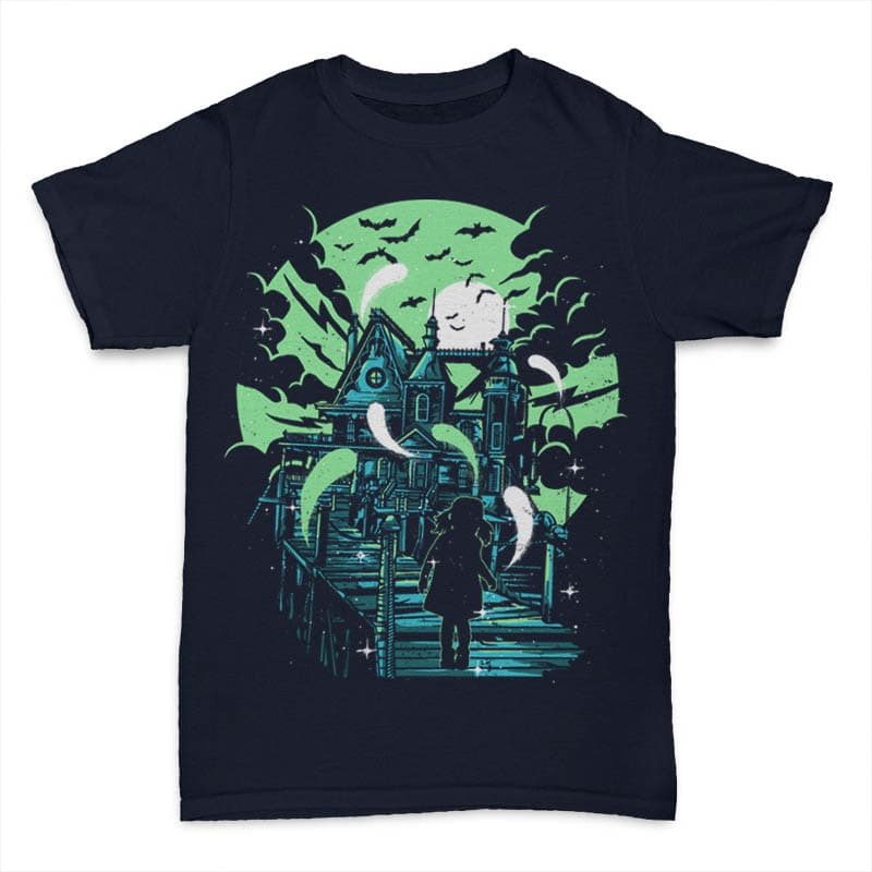 Haunted House tshirt design t-shirt designs for merch by amazon