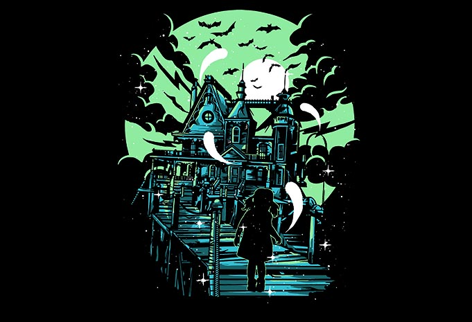 Haunted House tshirt dsign - Haunted House tshirt design buy t shirt design