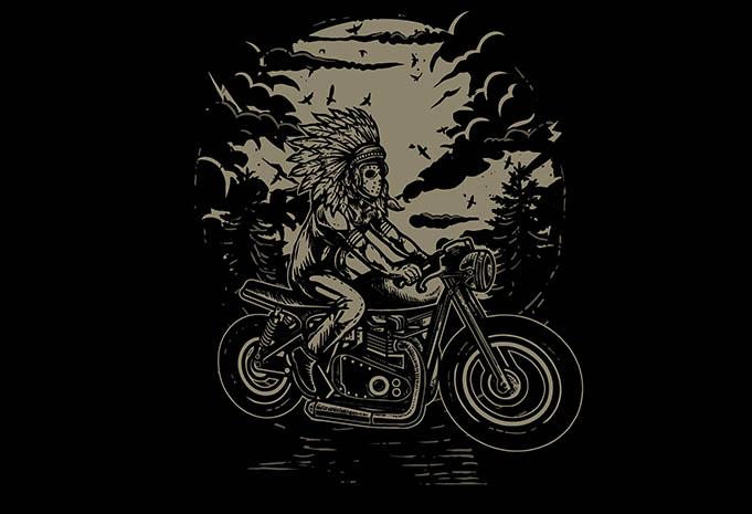 Indian Chief Rider tshirt design - Indian Chief Rider tshirt design buy t shirt design