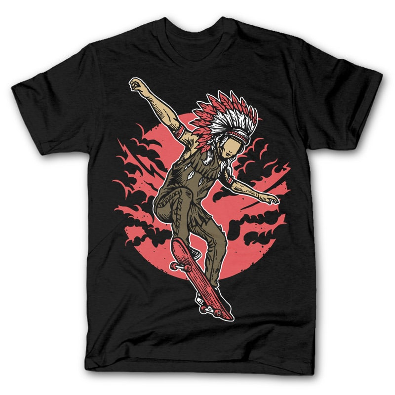 Indian Chief Skateboard T shirt design 32012 - Indian Chief Skateboard tshirt design buy t shirt design