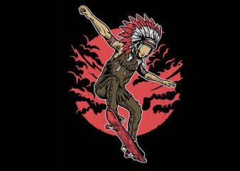 Indian Chief Skateboard tshirt design