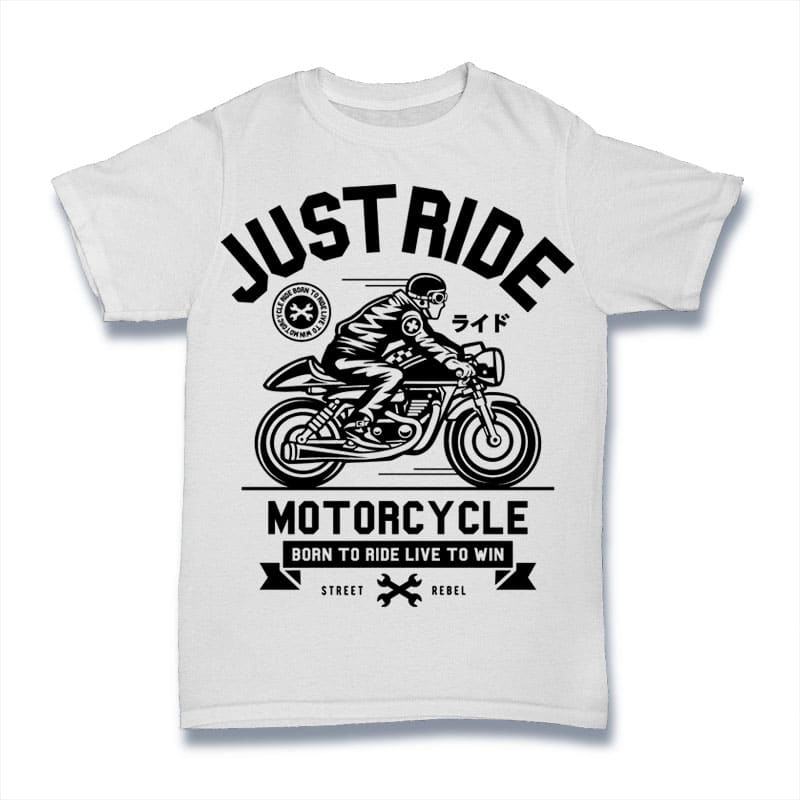 Just Ride t shirt designs for print on demand