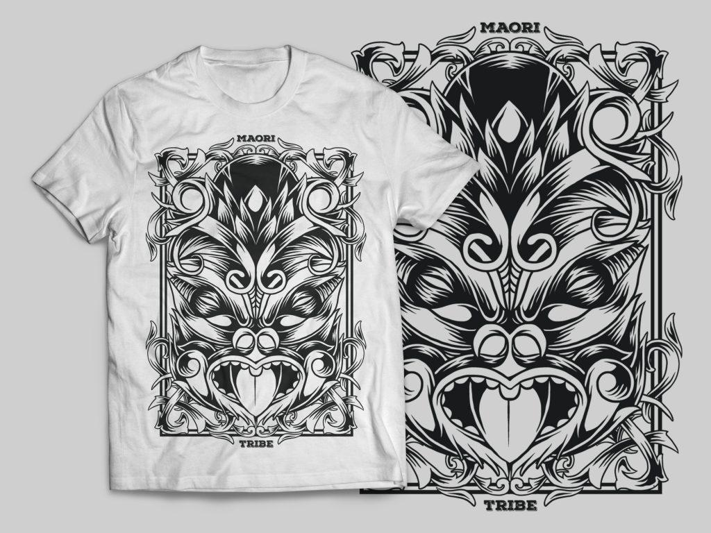 Maori Mask T-Shirt Design t-shirt designs for merch by amazon