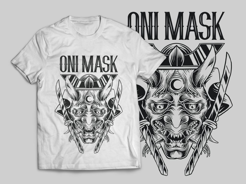 Oni Mask T-Shirt Design t shirt designs for print on demand