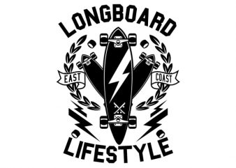 Longboard Lifestyle print ready vector t shirt design