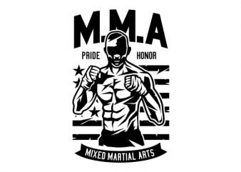 MMA Fighter vector t-shirt design template