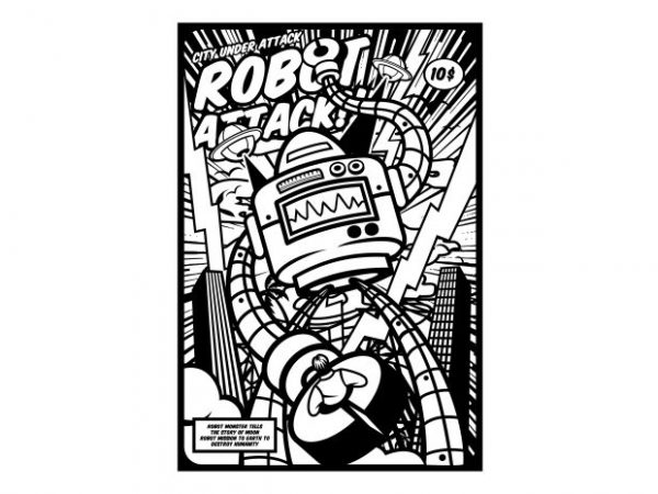 Robot Attack Display 600x450 - Robot Attack buy t shirt design