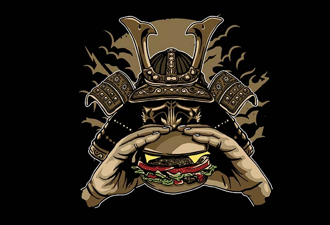 Samurai Burger buy sthirt design - Samurai Burger t shirt design buy t shirt design