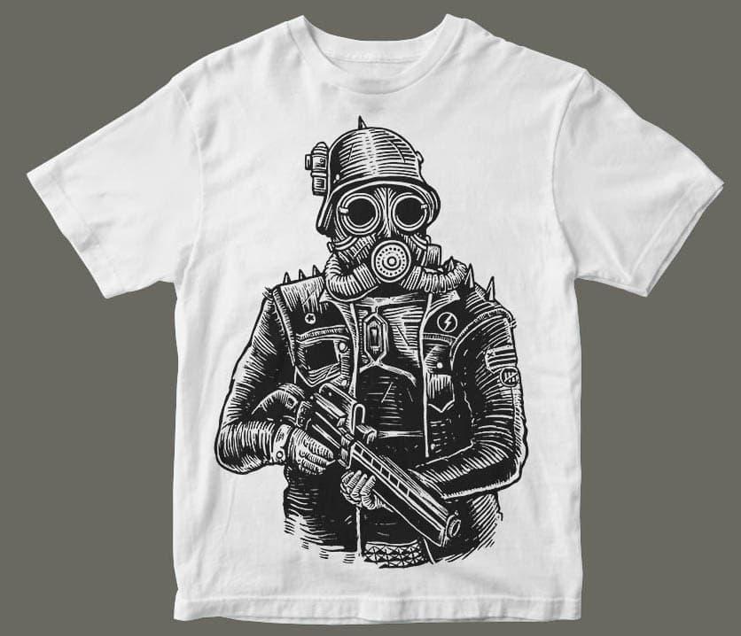 Steampunk Soldier tshirt design mockup - Steampunk Soldier t shirt design buy t shirt design