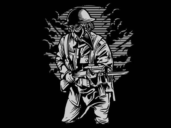 Steampunk Style Soldier tshirt design 600x450 - Steampunk Style Soldier t shirt design buy t shirt design