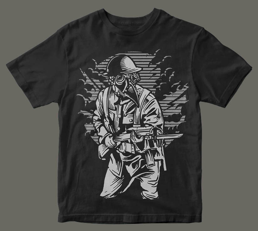 Steampunk Style Soldier t shirt design tshirt factory