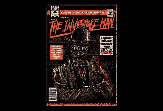 The Invisible Man tshirt design - The Invisible Man t shirt design buy t shirt design