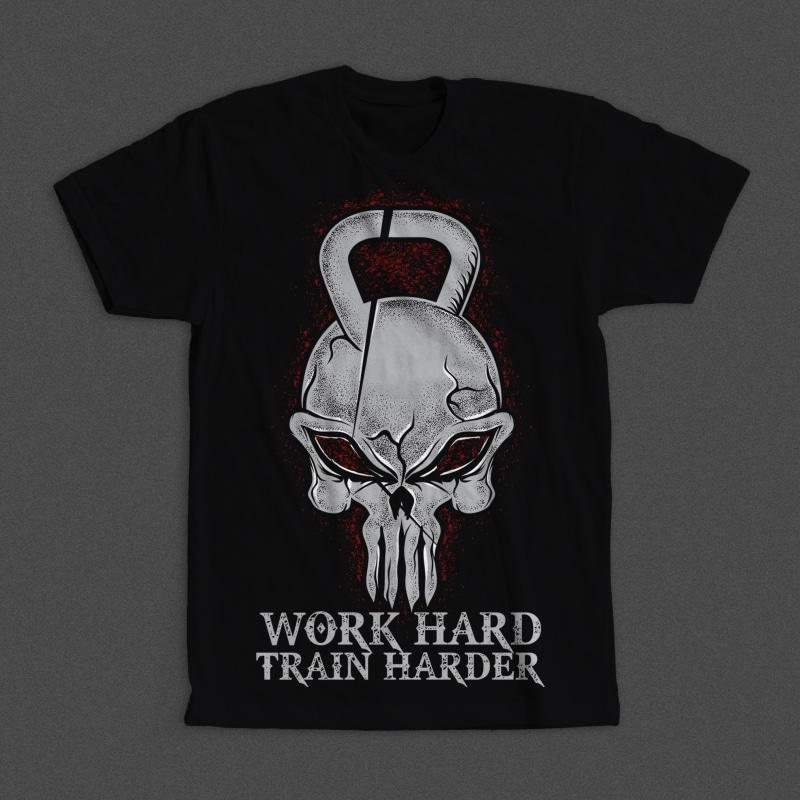 Work Hard Train Harder t shirt design png