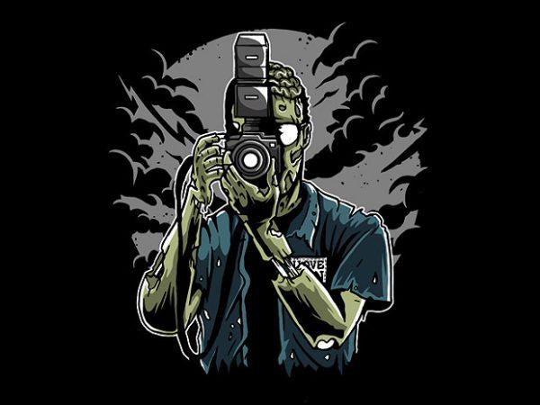 Zombie Photographer tshirt design 600x450 - Zombie Photographer t shirt design buy t shirt design