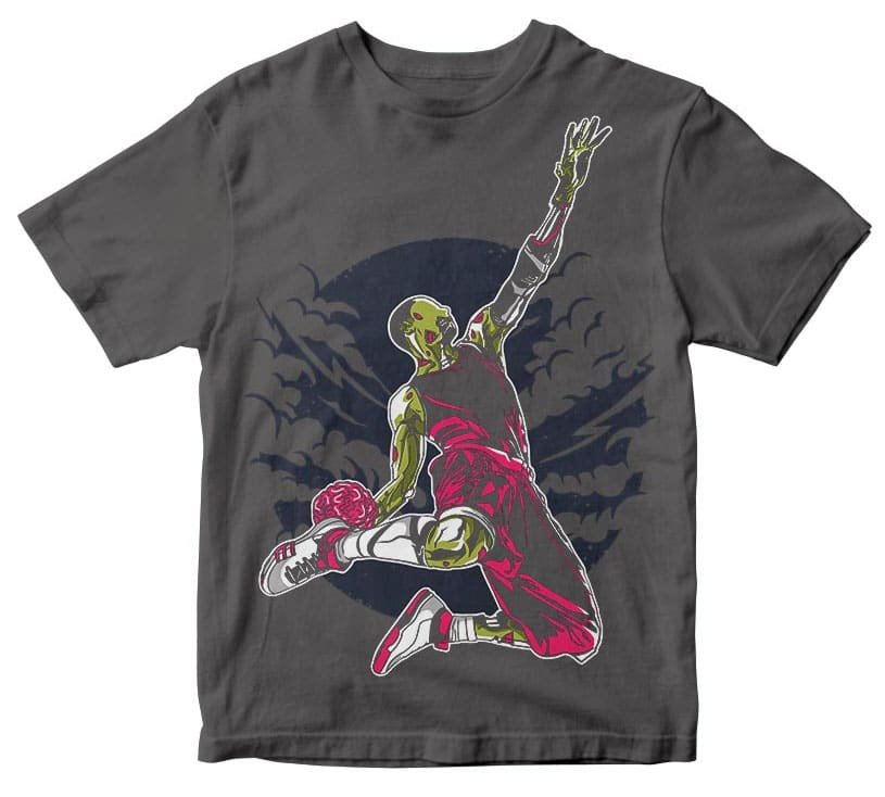 Zombie Slam Dunk t shirt design tshirt designs for merch by amazon