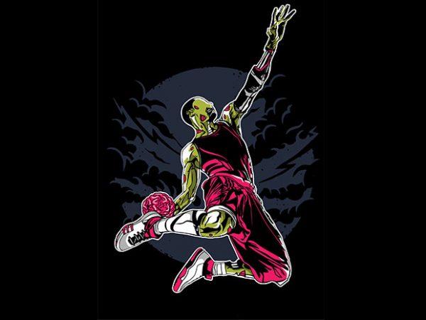 Zombie Slam Dunk tshirt design 600x450 - Zombie Slam Dunk t shirt design buy t shirt design
