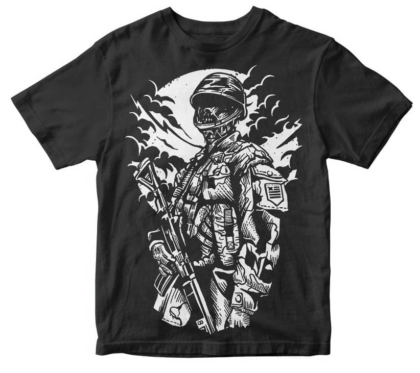 Zombie Soldier t shirt design tshirt design for sale